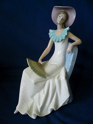 """NAO by Lladro ~ RELAX #1250 ~ Large 11.5"""" Woman w/ Hat & Fan embossed"""