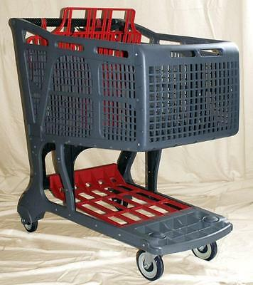 Grey/Red Large Plastic Grocery Shopping Carts