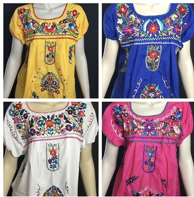Womans Peasant Handmade Embroidered Mexican Blouses Assorted Colors And Sizes E