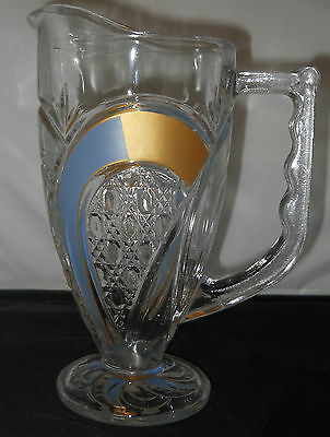 Pretty Art Deco Pressed Patterned Clear Glass 1 Qt Pitcher with Painted Accents
