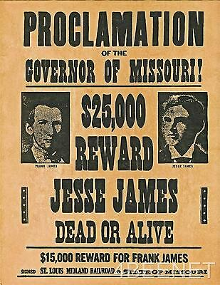 JESSE JAMES $25,000 REWARD WANTED POSTER rolled, never folded LOOKS & FEELS OLD