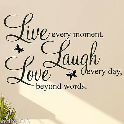 Fashion DIY Live Love Vinyl Decal Removable Art Wall Quote Sticker Home Decor