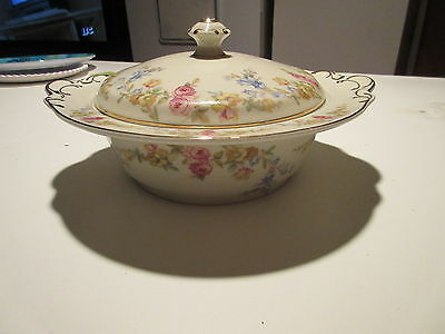 KPM Royal Ivory Germany flowers covered casserole dish Riviera
