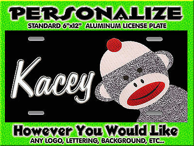 Sock Monkey Background PERSONALIZED FREE Monogrammed License Plate