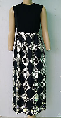 Vintage 60's Mod Black Diamond Print Maxi Dress by Marc Ittah Size 8 to 10
