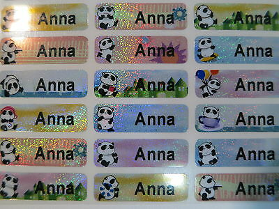 60 Panda Sparkle Personalized Waterproof Name Stickers Labels Decals 3 cm x 1cm