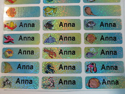 60 Fish Sparkle Personalized Waterproof Name Stickers Labels Decals 3 cm x 1cm