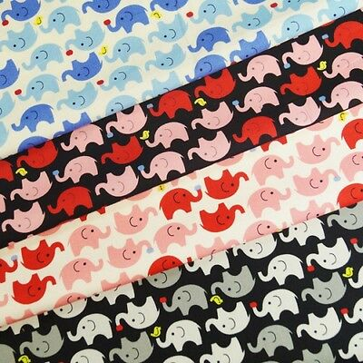 100% Cotton Poplin Fabric John Louden Elephants Holding Birds & Apples