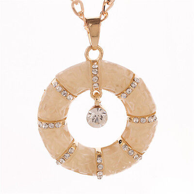 Women's Royal Crystal Circle Charm Jewel Drop Pendant necklace Party chain