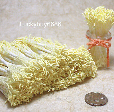 250 Light yellow Double Sided Round Flower Stamen Craft Cards Artificial floral