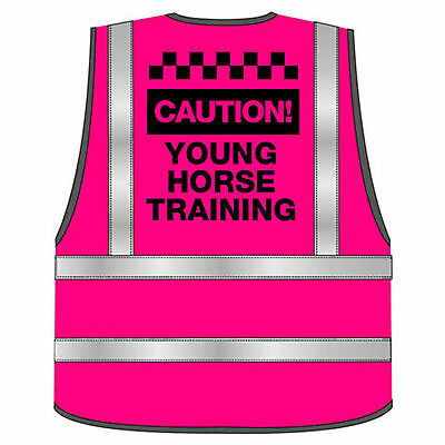 Caution Young  Horse Training Pink Ladies Hi Vis Vest,fluorescent/small-3Xl
