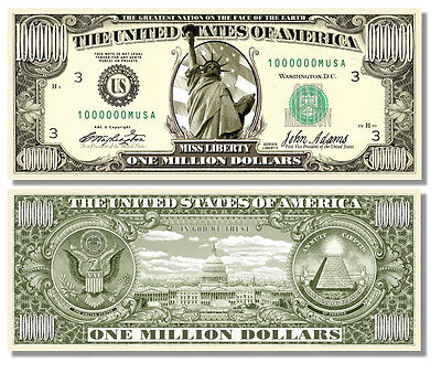 100 Factory Fresh Miss Liberty Million Dollar Bills