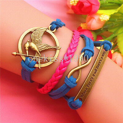 NEW FASHION  DIY Infinity Leather CUTE COOPER ROUND BORD  RED Bracelet 210C