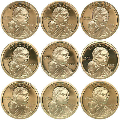 2000-2008 S Native American Sacagawea Proof Dollar Run Gem DCam US 9 Coin Set