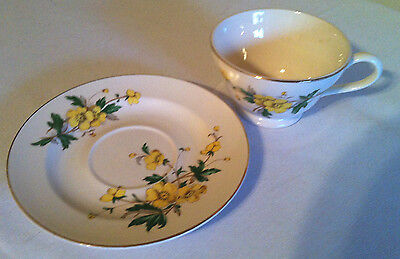 Knowles Yellow Flowers Teacup & Saucer- Made USA 52-12