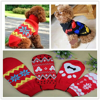 Stylish Warm Puppy Pet Cat Dog Sweater Knitwear Coat Apparel Clothes In Red 10#