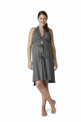 Pretty Pushers Original Labor, Delivery, Birthing Gown-CHARCOAL HEATHERED GREY
