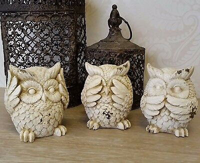 Set Of Three Owl Ornaments Beige Speak Hear See No Evil