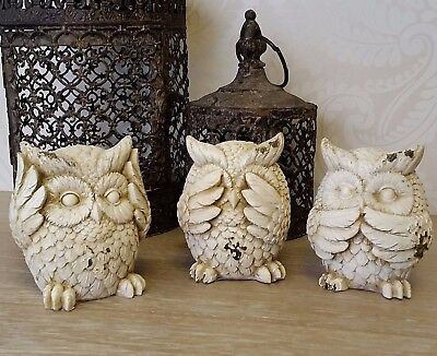 Set Of Three Owl Ornaments Cream White Speak Hear See No Evil Rustic Home Gift