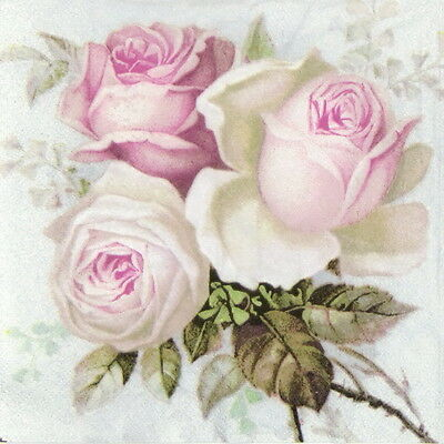 4x Paper Napkins for Decoupage Craft Vintage Bouquet of Roses