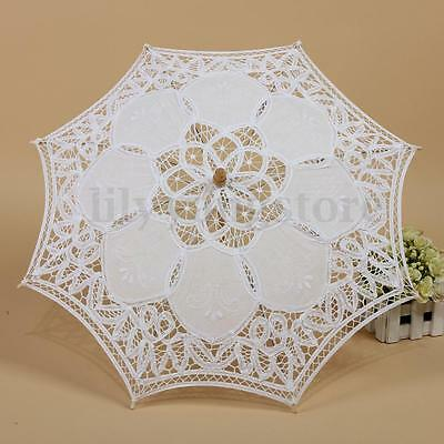 White Lace Cotton Embroidery Parasol Bridal Wedding Decoration Girl Umbrella