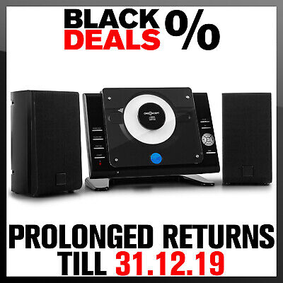Vertical Stereo CD Player Wall Mounted USB FM Radio Aux Audio Hi Fi System Black