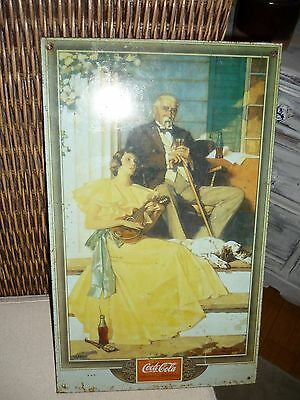 1989 COCA-COLA REPRO METAL SIGN - NORMAN ROCKWELL VICTORIAN WOMAN & MAN DOG LUTE