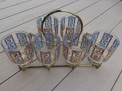 6 Vintage Retro Turquoise~Gold Greek Key Bar Glasses Colony In Carrier Rack