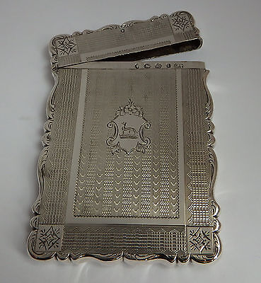 BEAUTIFUL GOTHIC ANTIQUE VICTORIAN B1860 SOLID STERLING SILVER CALLING CARD CASE