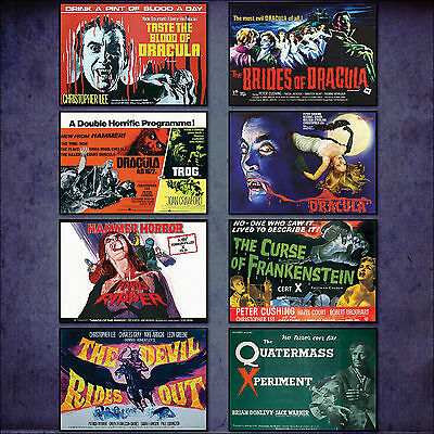 Hammer Horror classic Film Poster Set of 8 large fridge magnets No.1