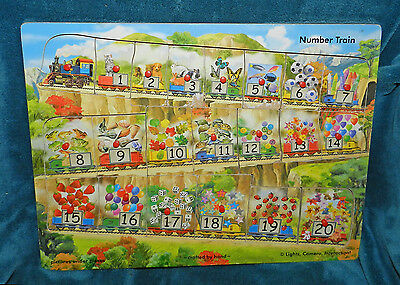 ANTIQUE/VINTAGE NUMBER TRAIN LEARNING PUZZLE 1 - 20