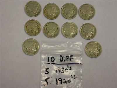 (10 COINS) (5) 1920's (5) 1930's BUFFALO NICKEL LOT -GREAT GIFT