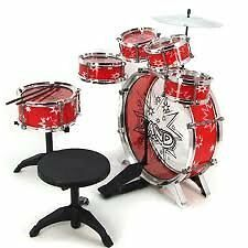 11pc Kids Boy Girl Drum Set Musical Instrument Toy Playset RED, New