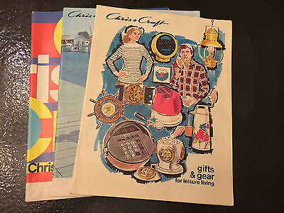 lot of  3 VINTAGE Chris Craft BOAT GIFT GEAR CATALOG 1970s Sailing Clothes