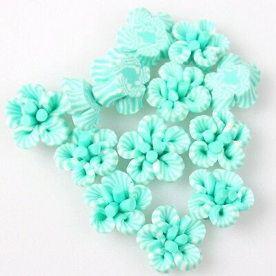 50pcs Good Items Beautiful Flower Fimo Polymer Clay Beads Decoration DIY 8mm D