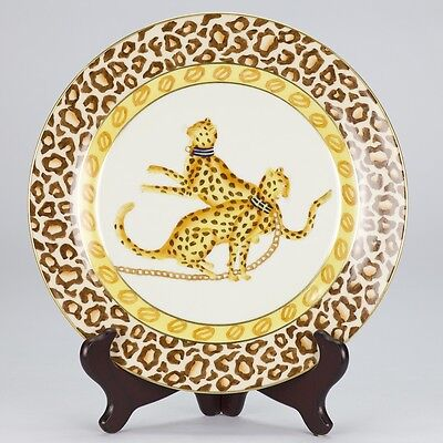 NEW antique style porcelain decorative plate vintage cat africa cheetah animal