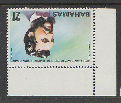 BAHAMAS 1976 21c TELEPHONE WITH CROWN TO RIGHT OF CA SG 458w MNH.