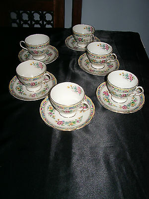 """6 setting Foley """"Ming Rose"""" Cup and Saucers"""