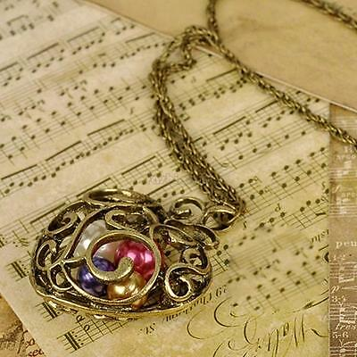 Fashion Retro Vintage Bronze Hollow Out Carving Heart Beads Pendant Necklace