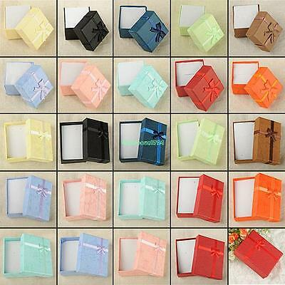 Paper Square Package Bowknot Jewelry Necklace Bracelet Present Gift Box Case