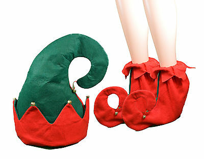 Christmas Holiday Elf Costume 3pc Set Hat and Shoes with Jingle Bells