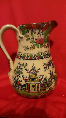 ANTIQUE CHINOISERIE JUG - HAND DECORATED BLUE TRANSFER MADE EARLY 19TH CENTURY