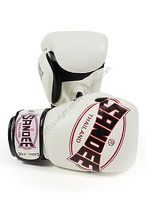 Sandee Cool-Tec White Leather Boxing Gloves Muay Thai Boxing Gloves