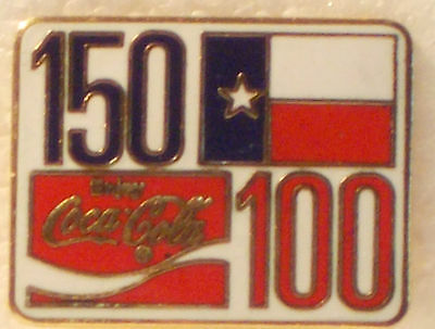 1986 COCA-COLA Coke 100 Years Old-TEXAS 150 Years Old Lapel Pin