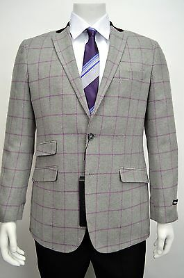 Men's Light Gray Windowpane Flannel Wool Blend Blazer SIZE 38R NEW
