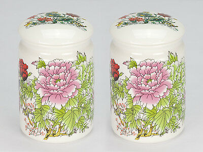 Set of 2 NEW Oriental asian porcelain loose tea bag caddy canister jar container