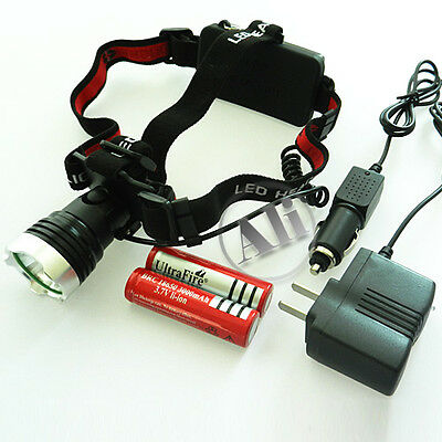 NEW 1600Lm CREE XM-L XML T6 LED Headlamp Rechargeable Headlight 2x18650+Charger