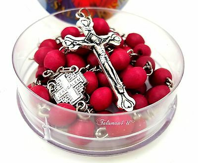 Rose Smell JERUSALEM ROSARY Petal Red Carved Beads Jesus Cross Crucifix Gift Box