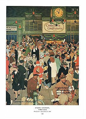 """Norman Rockwell Thanksgiving Christmas travel print: """"UNION STATION, CHICAGO"""""""