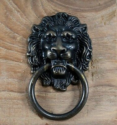 Set Of 6 Cast Iron Lion 5 Cm. Dark Wood Tone Cabinet Cup Handle Door Cupboard